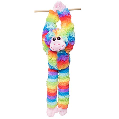 Edgewood Toys 24-Inch Hanging Tie Dye Monkey Stuffed Animal - Monkey Toy with Specially Designed Ultra Soft Plush Feel - Hands and Feet Connect Together - Assorted Rainbow Colors - Kids Ages 3+