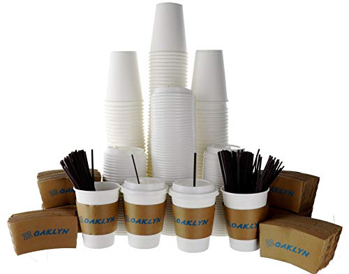 120 Pack - 12 Oz Hot Paper Coffee Cups with Lids, Sleeves, Stirring Straws To Go. Bulk set of White, Disposable, Insulated Drink Cups - No Leaks