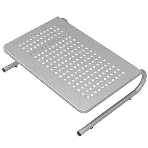 WALI Monitor Stand Riser for Computer, Laptop, Printer, Notebook and All Flat Screen Display with Vented Metal Platform and 4 Inches Height Underneath Storage (STT001S), Silver