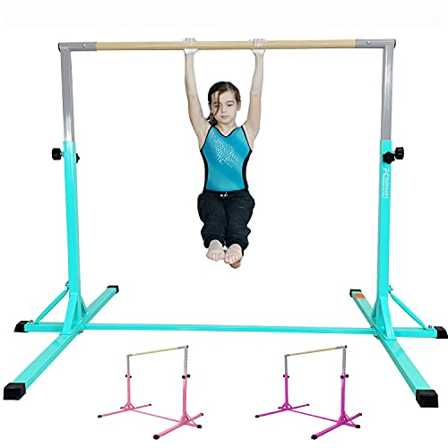 FC FUNCHEER Expandable Gymnastics kip bar with Fiberglass Cross bar & 304 Stainless Inserting Adjustable arm and Folding Gymnastic mat,Safe Training for Children (EJ Purple)