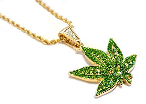 Exo Jewel Green Cannabis Marijuana Leaf Gold Pendant Necklace with 24' Thin Rope Chain