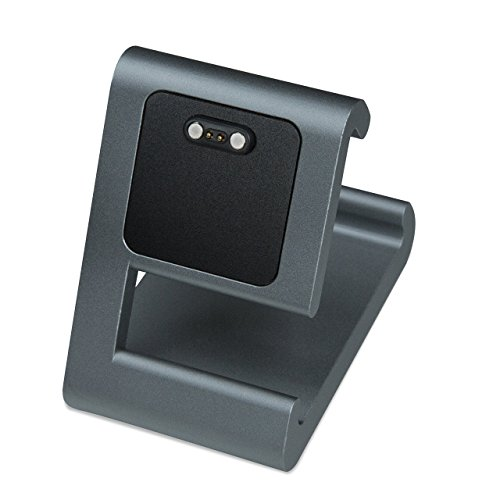 TimeDock - Charging Dock for Pebble 2, Pebble Time, Pebble Time Steel, Pebble Time Round (Gunmetal Grey/Blue)