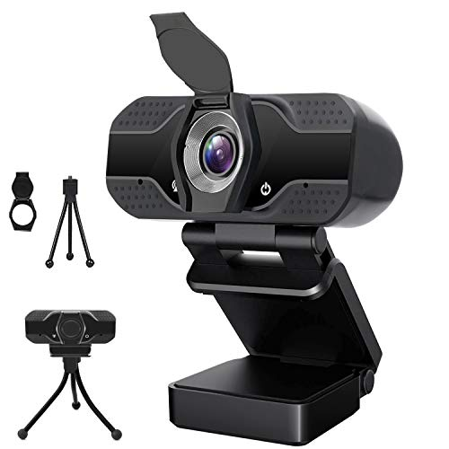 Webcam with Microphone, Full 1080P HD USB Web Camera for Windows Mac OS PC, Laptop, Computer, Desktop, for Live Streaming, Video Call, Conference, Online Classes - Auto Light Correction, Manual Focus
