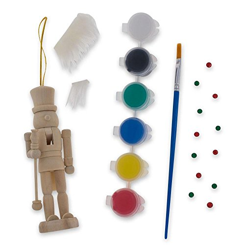 BestPysanky Unfinished Wooden Nutcracker with Paint and Fur Craft Kit 5 Inches