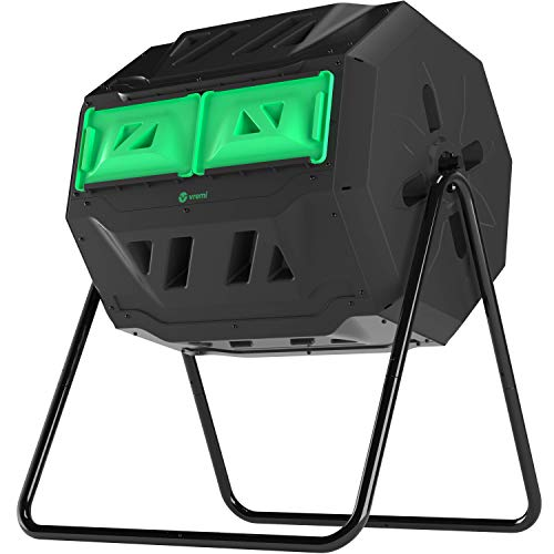 Vremi Tumbling Outdoor Compost Bin – Dual Chamber 360° UV Proof and Rust Proof 42 gal with Secure Sliding Doors – All Season Composter with Aeration System