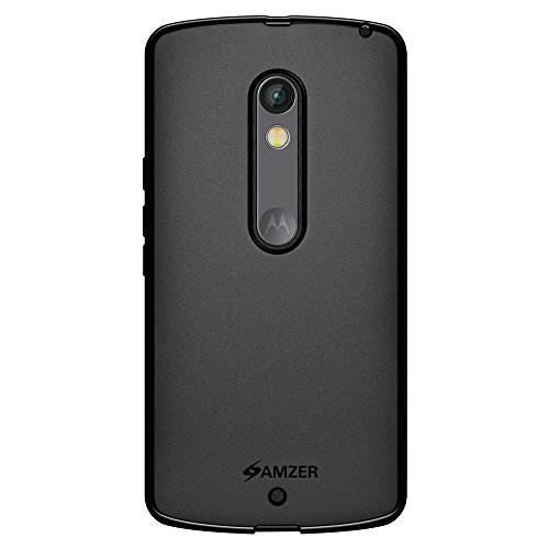 AMZER Pudding Soft Gel TPU Skin Case for Motorola Moto X Play - Retail Packaging - Black