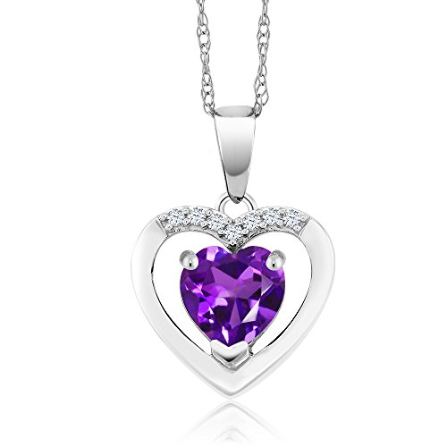 Gem Stone King 10K White Gold Amethyst and Diamond Pendant Necklace For Women (0.70 Ct Purple Gemstone Birthstone Heart Shape with 18 Inch Chain)