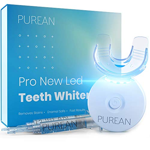 Purean Teeth Whitening Kit with LED Light – 2 Syringes of 5ml Professional 35% Carbamide Peroxide Tooth Whitener Gel – Bright White Smile Set with Mouth Tray
