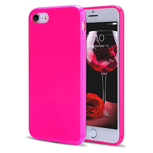 FGA iPhone SE 2020 Case, iPhone 8 Case, iPhone 7 Case, Sugar Candy Cute Fashion Protective Slim Fit Solid Color Soft Flexible TPU Gel Case Cover for iPhone SE 2020, iPhone 8, iPhone 7(Hot Pink)