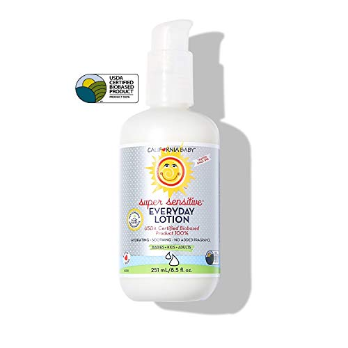 California Baby Everyday Lotion (8.5 Ounces) Moisturizer for Dry, Sensitive Skin   Post Bath and Diaper Changing   Non-Greasy, Fast-Absorbing Formula (Super Sensitive - 8.5oz)