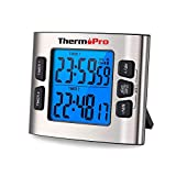ThermoPro TM02 Digital Kitchen Timer with Dual Countdown Stop Watches Timer/Magnetic Timer Clock with Adjustable Loud Alarm and Backlight LCD Big Digits/ 24 Hour Digital Timer for Kids Teachers