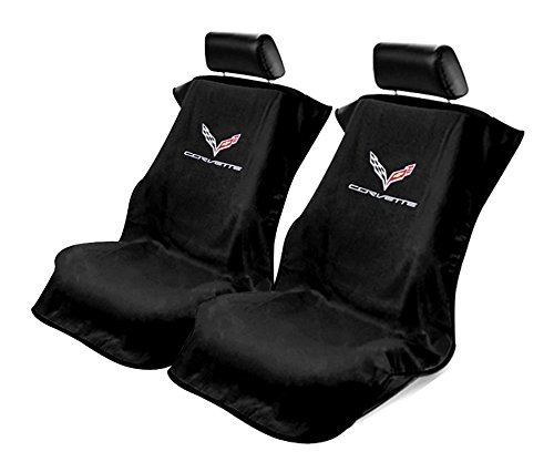 Seat Armour -Black Towel Seat Covers for Corvette C7 -Pair