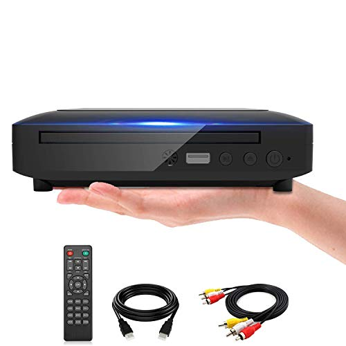 Mini DVD Player, DVD CD/Disc Player for TV with HDMI/AV Output, HDMI/AV Cables Included, HD 1080P Supported Built-in PAL/NTSC System USB Input