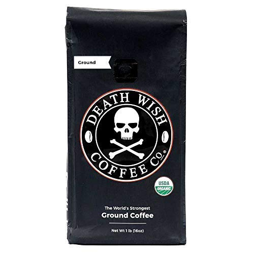 DEATH WISH COFFEE Dark Roast Coffee Grounds [16 oz.] The World's Strongest, USDA Certified Organic, Fair Trade, Arabica, Robusta (1-Pack)