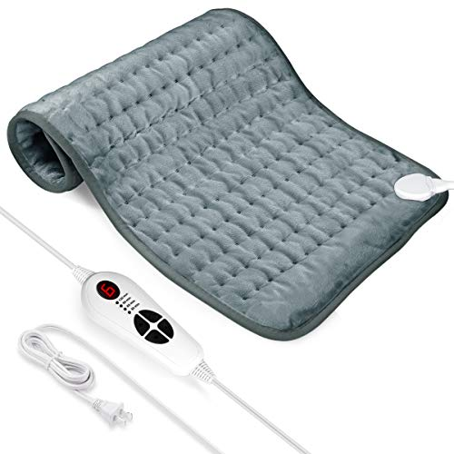 Heating Pad, Electric Heating Pad for Moist & Dry Heat, 6 Electric Temperature Options, 4 Temperature Settings for Back Pain, Neck and Shoulder, Cramps Relief - Heats Fast