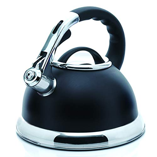 Creative Home Camille 3.0 Qt Stainless Steel Opaque Black Whistling Tea Kettle