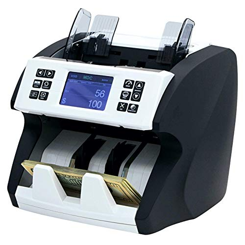 Demotio Bank Grade Mixed Denomination Bill Counter Machine Money Counter MA-180S with 2CIS/MG/MT/UV/IR/Color Detection for Multi-Currency and SN Recognition with 2 Years' Manufacturer Warranty