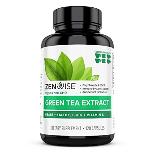 Zenwise Green Tea Extract with EGCG & Vitamin C - Antioxidant & Immune Supplement - Vegan Skin & Heart Support + Brain Health & Memory Boost - 120 Count