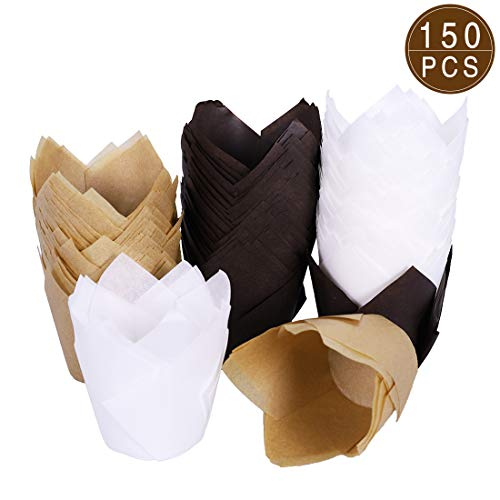 HomyPlaza Tulip Cupcake Baking Cups, 150pcs Paper Cups Cupcake Liners, Brown Natural and White Color Baking Wrappers Muffin Cups, Greaseproof Parchment Paper Cups for Wedding, Baby Showers, Party