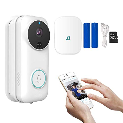 Wireless Video Doorbell,1080P HD WiFi Security Camera Doorbell with Indoor Chime,Real-time HD Video Doorbell, 2-Way Audio,Night Vision,APP for iOS Android Google