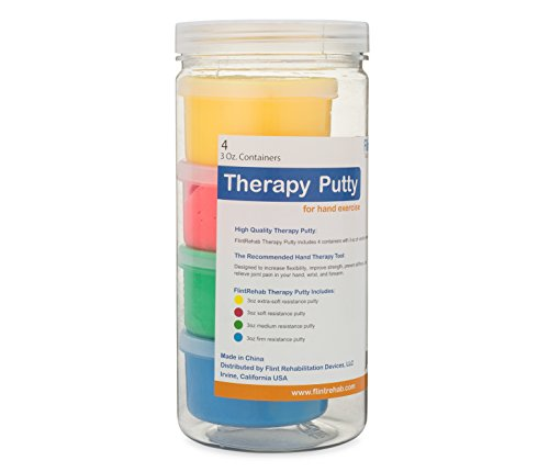 FlintRehab Premium Quality Therapy Putty (4 Pack, 3-oz Each) for Hand Exercise Rehab. Fidgeting, and Stress Relief…