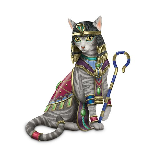 The Hamilton Collection Cleo-CAT-Tra Cat Figurine Dressed Like Cleopatra with Elaborate Headdress