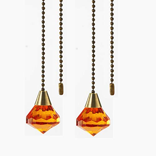 Ceiling Fan Light Pull Chain Extension,Acrylic Diamond Pull Chain for Ceiling Light Lamp Fan Chain 2Pack (Dark Brown)
