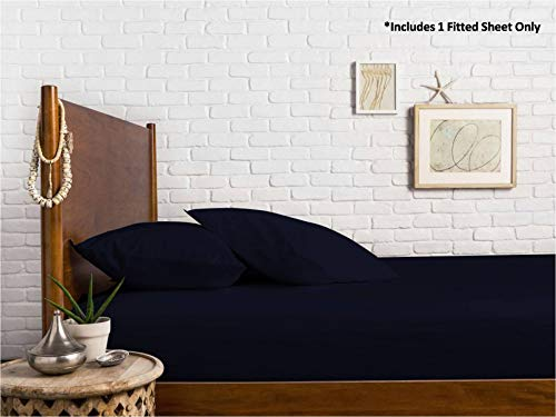 Mayfair Linen 100% Egyptian Cotton Sateen Weave 800 Thread Count King Fitted Sheet with Elastic All Around - Fits Mattress Upto 18 inches Navy Blue