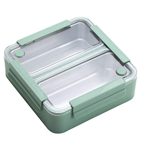 Bento Lunch Box for Kids and Adults, Bento box 2 Compartments, Leak-proof bento lunchbox - Stainless Steel with Removable Trays and Clear Top, Reusable and Portable (Green)