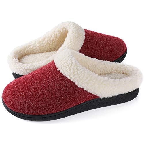 Wishcotton Women's Cozy Memory Foam Slippers Fuzzy Wool-Like Plush Fleece Lined House Shoes Indoor, Outdoor Nonslip Rubber Sole