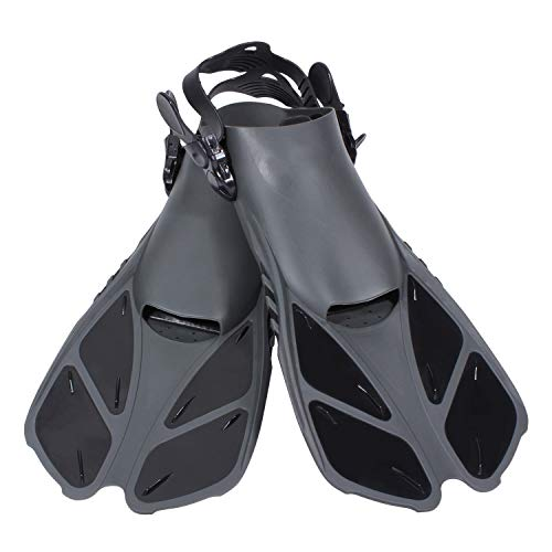 Diveitone Snorkel Fins, Short Swim Fins Swimming Flippers with Adjustable Strap for Women Men Swimming Diving and Snorkeling, Pefect for Travel (Black, S/M)