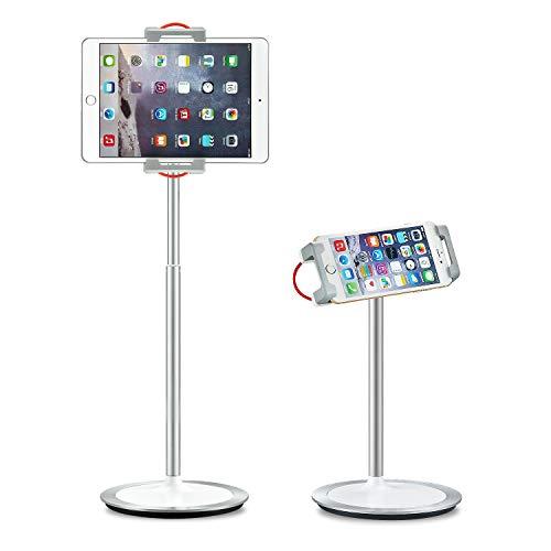 SAIJI Tablet Stand Holder, Height Adjustable, 360 Degree Rotating, Aluminum Alloy Cradle Mount Dock for 4.7'-12.9' Screen iPhone Samsung, iPad, Kindle, eBook Reader (Silver)