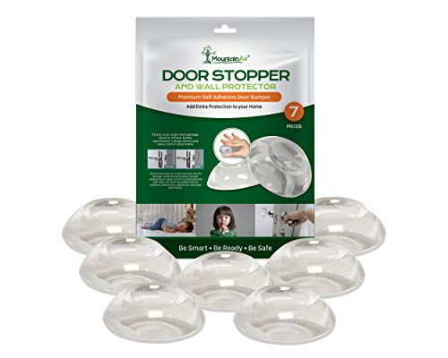 Door Stopper Wall Protector – Self-Adhesive Door Knob Wall Plate - Refrigerator Door Stops for Wall - Extra Protection Clear Round Door Knob Stopper for Wall – Easy Apply Wall Door Stopper – 7 PC Set
