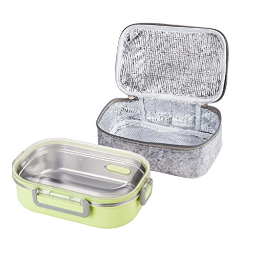 Lille Home 22oz Stainless Steel Leakproof Lunch Box, Insulated Bento Box/Food Container with Insulated Lunch Bag, Perfect Holiday Gift (Green)