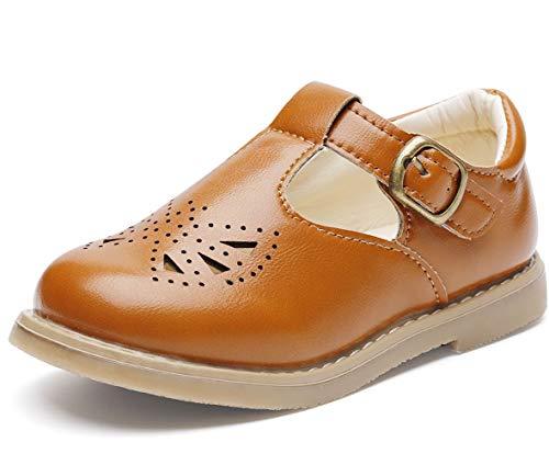 DADAWEN Girl's T-Strap Mary Jane School Uniform Shoes Flat Dress Shoes Brown US Size 11 M Little Kid