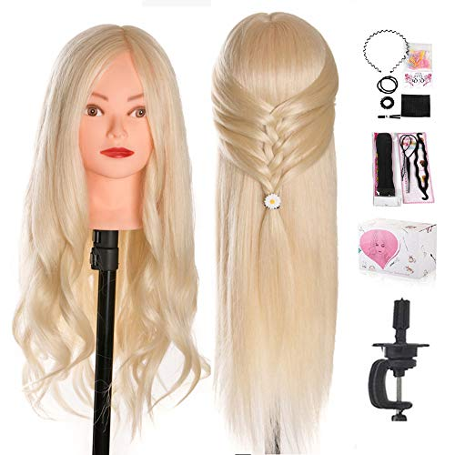Mannequin Head, Beauty Star 24 Inch Creamy-White Long Hair Styling Training Head Manikin Cosmetology Doll Head with Clamp Stand and Accessories (Suitable for Straightening, Curling, Perming)