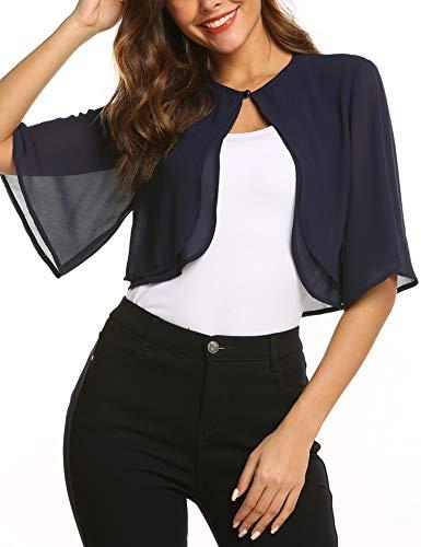 SoTeer Bolero Shrugs for Women Short Sleeve Loose Open Front Cardigan Summer Chiffon Blouses, Navy Blue, S