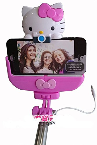 HELLO KITTY 3.5mm Wired Selfie Stick - Retail Packaging - Pink