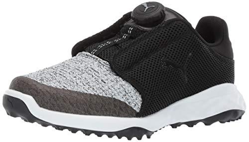 Puma Golf Unisex-Kid's Grip Fusion Sport Disc Golf Shoe, Puma Black-Quarry, 1 M US Little Kid