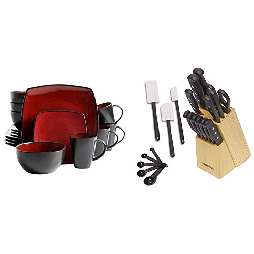 Gibson Elite Soho Lounge 16-Piece Square Reactive Glaze Dinnerware Set, Red & Farberware 5152501 22-Piece Never Needs Sharpening Triple Rivet High-Carbon Stainless Steel Cutlery Set, Assorted
