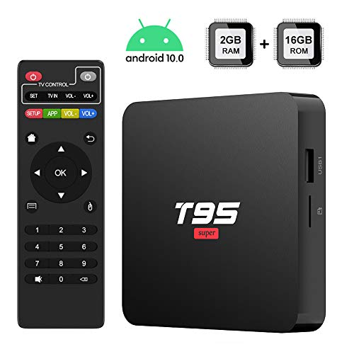 Android 10.0 TV Box, TUREWELL T95 Super TV Box Allwinner H3 Quad-Core 2GB RAM 16GB ROM Media Player Support 2.4GHz WiFi, 3D 4K H.265 Smart Android TV Box