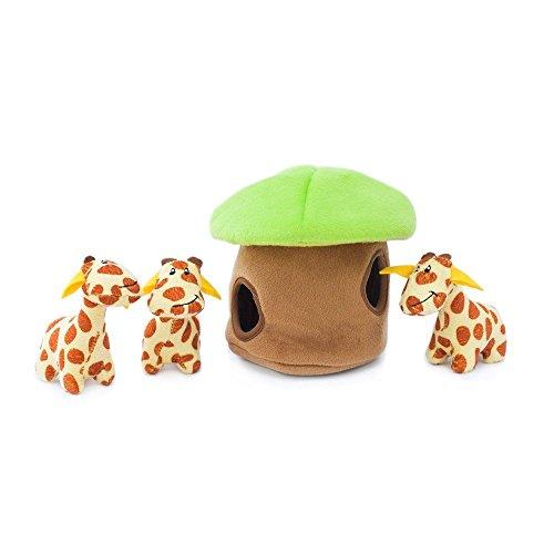ZippyPaws - Zoo Friends Burrow, Interactive Squeaky Hide and Seek Plush Dog Toy - Giraffe Lodge