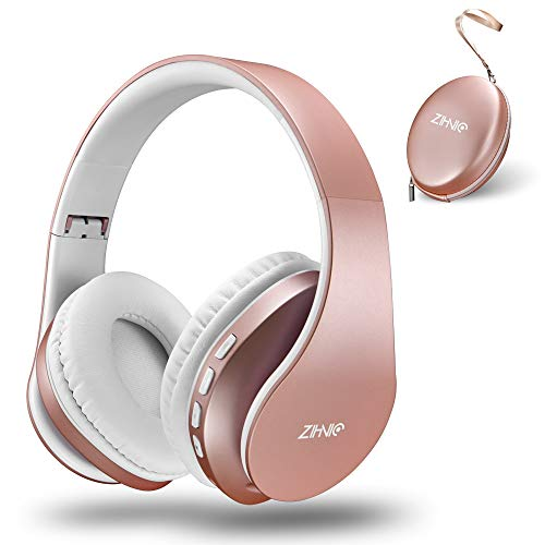 Bluetooth Headphones Over-Ear, Zihnic Foldable Wireless and Wired Stereo Headset Micro SD/TF, FM for Cell Phone,PC,Soft Earmuffs &Light Weight for Prolonged Waring(Rose Gold)