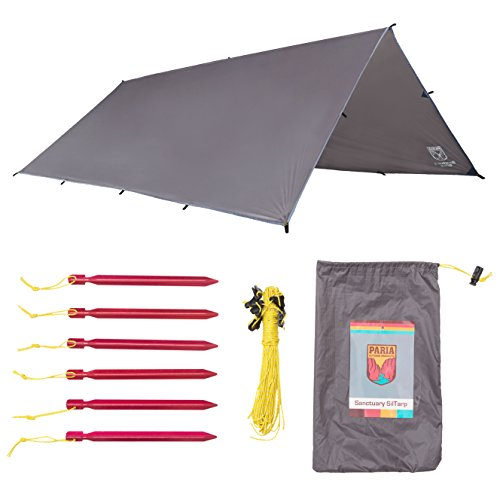 Sanctuary SilTarp - Ultralight and Waterproof Ripstop Silnylon Rain Shelter Tarp, Guy Line and Stake Kit - Perfect for Hammocks, Camping and Backpacking (12 feet by 10 feet - Flat Cut)