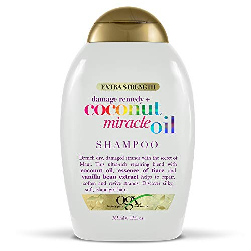 OGX Extra Strength Damage Remedy + Coconut Miracle Oil Shampoo for Dry, Frizzy or Coarse Hair, Hydrating & Flyaway Taming Shampoo, Paraben-Free, Sulfate-Free Surfactants, 13 fl oz