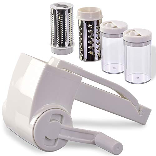 Vivaant Professional-Grade Rotary Grater - 2 Stainless Steel Drums - Grate Or Shred Hard Cheeses, Vegetables, Chocolate, And More - Award-Winning Design And Heavy-Duty Build Quality Lasts A Lifetime!