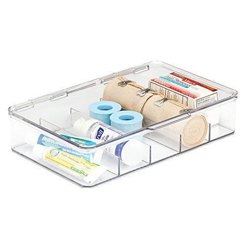 mDesign Storage Box Organizer for First Aid Kit, Medicine, Medical, Dental Supplies - 5 Compartments, Clear