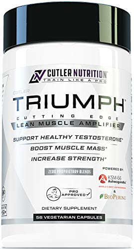 Triumph Testosterone Booster for Men: Best Test Booster and Estrogen Blocker for Men with DIM, KSM 66 Ashwagandha, and Boron Citrate, Build Natural Lean Muscle Mass and Strength, 56 Veggie Capsules