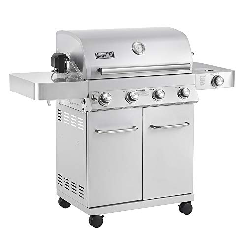 Monument Grills 17842 Upgrade 4-Burner Stainless Steel Propane Gas Grill with Rotisserie Kit