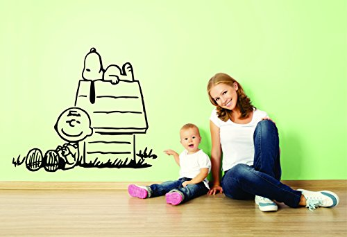 Charlie Brown and Snoopy Wall Vinyl Art Decal/Peanuts Cartoon Kids Bedroom Stickers Decals/Childs TV Characters/Patty Shermy Snoopy Violet Gray Linus Van Pelt/House Size 15X20inch